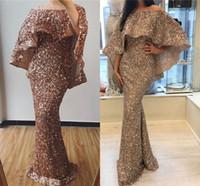 2019 розовое золото блестящее блестящее вечернее платье русалки от Sgoulder разделенные оболочки PRM платья длинная формальная вечеринка Pageant PageN