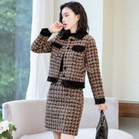 Womens Tweed Suits Blazer e gonna 2 piece set Donne signore dell'ufficio due pezzi giacca Gonna formale lavoro femminile uniformi Outfits