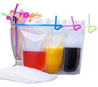 """500ML bebida claro bolsos de las bolsas con pajas - puede volver a cerrar la cremallera soporte plano de plástico bolsos de las bolsas Bolsas Beber - 9,1"""" x 5,2"""" / 17 Oz"""