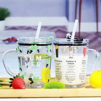 Kid Süt Kupası Glass Ölçme 400ml Kapak GGA3236-2 ile Bardaklar Öğrenci Su Şişesi Bira Kahve Kupalar Karikatür Çocuk Sütü Mug Mezun