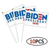 14 * 21cm BIDEN wehende Flagge USA-Wahl Flagge Parteibevorzugungs Dekor liefert Banner Hände schütteln Fahnen 10pcs / lot FFA4069-5