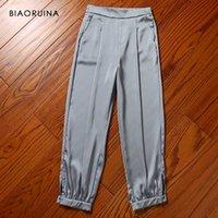 Pantalon Femme Capris Biaoruina Satiné Confortable Cool Ankle-Longueur Glossy High Taille Lâche Slim Casual Harem Fashion Pantalons