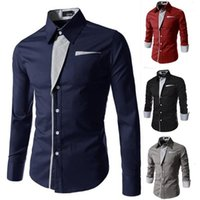 Mens Shirts Long Sleeve Single Breasted Male Tops Lapel Neck Mens Casual Shirts Solid Color Slim