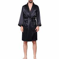 Homens Preto Salão Pijamas Faux Silk roupas para homem Comfort Silky Roupões Noble Bata tamanho dos homens do sono Robes Além disso,
