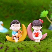 Romantic Sweety Lovers Couple Moon Figurines Miniatures Fair...