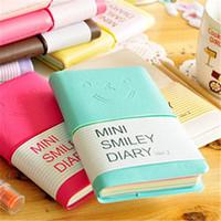Imitação de couro notepad candy cores caderno sorrindo rosto expressão caderno mini diário para estudantes coldre blocos blocos linda
