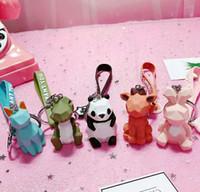 만화 창조적 인 장면 전환 기하학적 가족 키 체인 펜던트 한국 귀여운 핑크 베어 열쇠 고리 수지 커플 펜던트