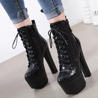 Hot Sale- 16cm black zip side lace up stone grain motocycle b...