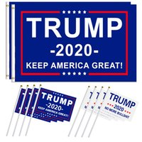 Hand Held Trump Flag 14 * 21cm Mini 2020 Keep America Great Polyester Banner Flags Stick Flags OOA6599