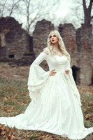 르네상스 고딕 레이스 공 가운 망토 플러스 사이즈 벨 긴 소매 켈트 중세 공주 빈티지 신부 가운