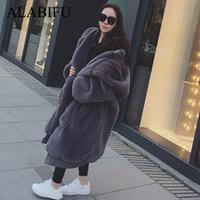 Faux Fur Coat Donne 2019 casuale con cappuccio Furry spessore caldo lungo Faux pelliccia del coniglio casacca inverno cappotto donne Casaco Y200109 feminino
