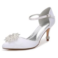 OnnPnnQ High Heels Satin Crystals Wedding Shoes Women Pointe...