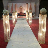 110 cm 높이 결혼 통로 장식 크리스탈 기둥 웨딩 산책로 스탠드 파티 결혼을위한 꽃 스탠드 센터