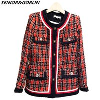 2019 Herbst Winter Tweed Jacke Mantel Damen Rundkragen Langarm Red Plaid Patchwork Woolen Elegant Runway Overcoat Jacken