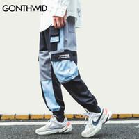 GONTHWID multi Pocekts Color Block Patchwork Cargo Harem Joggings Hip Hop Harajuku Casual Streetwear Sweatpants Pantalon V200411