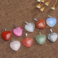 Halsketten 20mm Mode Natursteinherzanhänger Quarzkristall Achate Türkisen Malachit Stein für Schmucksachen, die Halskette 10pcs / lot