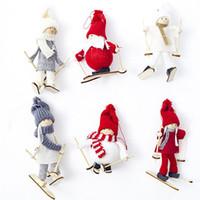 Mini bambola della peluche di Natale pendente dell'albero di Natale Figurine Babbo Natale decorazioni di Sci giocattolo in legno bambola Albergo Decorazione natalizia WX9-1754