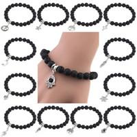 Perle di pietra naturale unisex Anchor Buddha Pendant Bracelet Braccialetto Volcanic Rock DIY donne Stretch Oil bracciale diffusore gioielli regalo