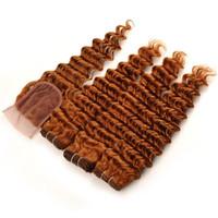 Açık Kahverengi Derin Kıvırcık İnsan Saç Demetleri Ile Dantel Kapatma Renk 30 Auburn Bakire Perulu Saç Derin Dalga Kapatma Örgüleri