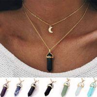 Capa de piedras naturales de la luna collar de los colgantes de oro Cadenas doble enlace Mujeres cristal de cuarzo bala joyería Prisma hexagonal Punto Healing encanto