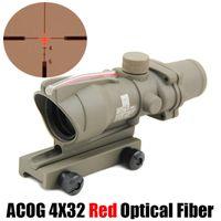 전술 ACOG 4x32 광섬유 범위 사냥 레드 조명 십자선 레티클 진짜 레드 섬유 위버 라이플 범위 전투 시력