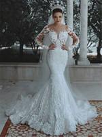 Vestidos de boda de lujo moldeada cristalina de la vendimia de la sirena de largas mangas de encaje apliques Arabia árabe Dubai más el tamaño de vestido de Brida CPS037