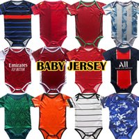 2020 2021 jerseys de futebol de bebê 6 18 meses camisas de futebol bola kits infantil squad bodysuit 20 21 roupas rastejando maillot de pé futbol