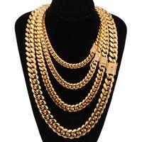 8-18mm breda rostfritt stål kubanska miami kedjor halsband cz zircon box lås stor tung guldkedja för män hip hop rock smycken