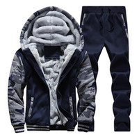 Eşofman Erkekler Spor Polar Kalın Kapüşonlu Marka Giyim Rahat Parça Takım Elbise Erkekler Ceket + Pantolon Sıcak Kürk Içinde Kış Kazak XS-4XL