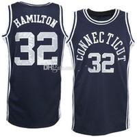 Ucconn Connecticut Huskies College Richard Hamilton # 32 농구 저지 네이비 블루 레트로 남성 스티치 사용자 지정 번호 이름 유니폼