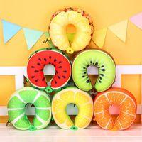 2pcs 6 colores de la fruta en forma de U Almohada Proteger el amortiguador del cuello del recorrido sandía limón kiwi naranja almohadas