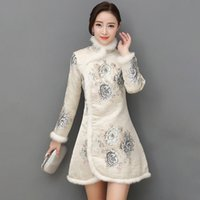 Chinese Style Cheongsam Women Temperament Plush Floral Print Dress Chinese Style Qipao 2020 New