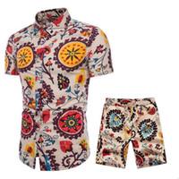 ملابس رياضية رجالية كتان الصيف تنفس مجموعة قصيرة للرجال تصميم الأزياء قمصان + شورت تراكسويت مجموعة تتجه نمط جديد M-5XL