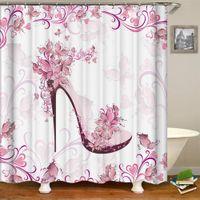 Kız için Moda Lady Duş Perde Pembe Yüksek topuklu Tasarım ile Kırmızı Ruj Parfüm Baskı Banyo Duş Perdeleri