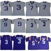 NCAA LSU 호랑이 3 Odell Beckham Jr. 7 Leonard Fournette 5 Derrius Guice 9 Joe Burrow 125 시즌 대학 축구 유니폼