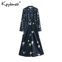 Vintage Elegant Floral Print Pleated Long Dress Women 2019 F...