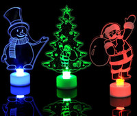 HOT Natal decration luzes LED Creative Color Mudar Night Light Snowman Papai Noel Torre da árvore de Natal luminosa Decors lâmpada lanterna