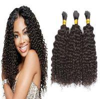 100% cabelo humano a granel kinky encaracolado sem trama Mongólia cabelo Bulk trança natural preto 3 pcs lote