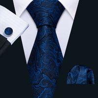Быстрая доставка Мужские галстуки 100% Шелковые дизайнеры Мода Темно-синий Цветочный галстук Hanky Запонки Наборы для Мужской Формальная Свадьба Groom N-5143