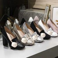 Scarpe da barca con tacchi autentici scarpe di lusso con tacco alto primavera autunno Sexy Bar Banchetto donna scarpe 10 cm fibbia in metallo scarpe tacco spesso 34-42