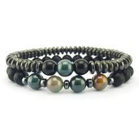 Svarta magnetiska strängar Armband Healing Agate Tiger Eye Bead Armband Kvinnor Mens Mode Smycken Will och Sandy Gift