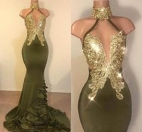 Sexy Mermaid Olive Green Bal Robes De Bar à Haltercustom Fabriqué Fête Dress Robe Or Approché APPLIQUES DOSSIBLES SATERY SATIN LONG TANDES DE SOCIÈRE VESTIDOS