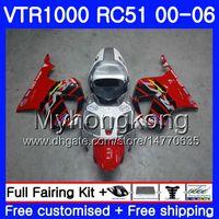 Kit para HONDA VTR1000 RC51 SP1 SP2 00 01 02 03 04 05 06 257HM.5 RTV1000 Rojo plateado caliente VTR 1000 2000 2001 2002 2004 2004 2006 2006 Carenado