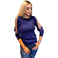 Slim Fit Pullover Tops Shiny Glitter Party Long Sleeve Club ...
