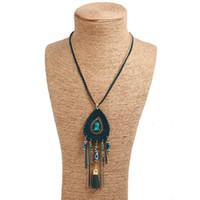 Nuovo stile della nappa della piuma del pavone Bohemian Collana lunga Shell gioielleria magli cuoio di trasporto di goccia di disegno esagerato