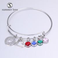 Corazón del acero inoxidable expandible alambre de la astilla de la joyería ajustable encanto de cristal de colores para las mujeres Regalo de cumpleaños de Navidad del brazalete -Y