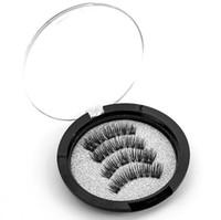 Ímã 3D Cílios Magnéticos Ímã Cílios Cílios Falsos Reutilizáveis Cílios Feitos À Mão Nenhum Cola Eye Lashes Maquiagem Kit 4 pcs / par