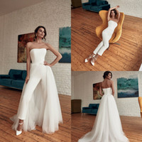 2020 Bohemia Wedding Jumpsuit With Detachable Train Straples...