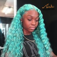 Water Blue Lace Front Human Hair Wigs with Baby Hair Deep Wa...