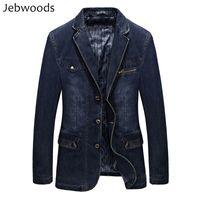 Homens jaqueta jeans primavera blazer ternos jaqueta dos homens de negócios ternos de lazer cowboy westerner masculino jeans casaco multi bolso tamanho l ~ 4xl